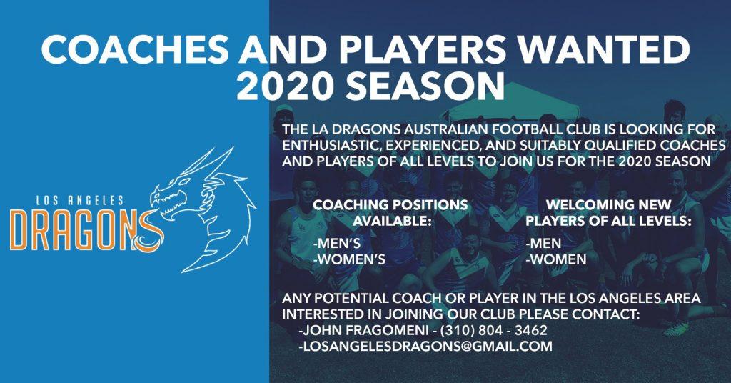 LA Dragons Coaching & Players 2020
